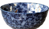 Keramikschüssel blau mit Blumenmuster, 17 cm