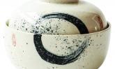 Keramik Schüssel mit Deckel, 16,8 cm