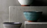 Unregelmäßige Keramikschüssel in div. Farben, 17,5 cm