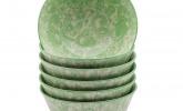 6er Set Schüsseln mit grünem Muster, 15,3 cm