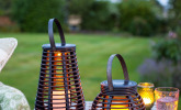 2er Set LED Solar Laterne Rattan Windlicht
