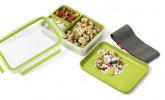 Lunch- und Snackbox mit 3 praktischen Einsätzen und Deckel