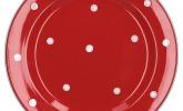 Van Well Emily Speiseteller rot-weiß gepunktet, Steingut