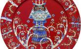 Roter Speiseteller mit verrücktem Eulen-Design, mehrere Farben verfügbar