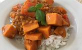 Rote Linsen Curry mit Süßkartoffeln