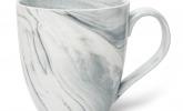 XXL Tasse aus Porzellan in grauer Marmorierung