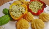 Gefüllte Zucchini oder Paprika mit Feta und Pesto