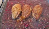 Entenbrust NT in Portwein-Orangenjus mit Lauchkräuterknödeln
