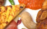 Hauptspeise: Spanische Tapas: Pimento Padron, Pollo Canario, Runzel Kartoffeln, Serrano mit Mancego und viele mehr