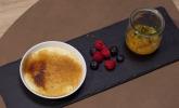 Nachspeise: Crème brûlée von der Tonkabohne mit Kumquat-Kompott