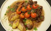 Hauptspeise: Kirschtomaten aus der Pfanne und Ofenkartoffeln
