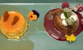 Nachspeise: Orangenflan, Schokokuchen, Himbeerspiegel