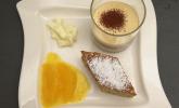Nachspeise: Cappuccino-Mousse, Ricotta-Pistazienkuchen, Orangenragout