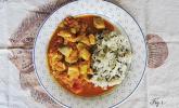 Kurkuma-Fisch mit Reis und Tomaten