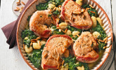 Putensteaks aus dem Ofen mit Spinat-Gorgonzola-Sauce