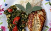 Hähnchen mit Spinat-Schafkäse-Gemüse