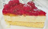 Leichte Pfirsich-Melba-Himbeer-Torte