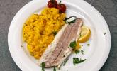 Hauptspeise: Safran-Peperoncino-Orangenrisotto, Loup de Mer mit Salbeicrunch