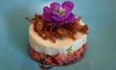 Vorspeise: Spargelmousse mit Lachs und Kartoffelstroh
