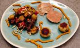 Vorspeise: Caponata, Ravioli mit Artischockencreme, Polpette di Tonno, Pesto siciliano