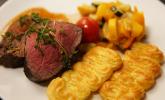 Hauptspeise: Chateubriand mit Pommes duchesse spezial und Ratatouille