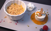 Nachspeise: Aprikosen-Crumble mit Vanillecreme und Aprikosen-Pannacotta-Eis am Stiel