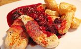 Hähnchenbrustfilet mit Brombeersauce und Backofenkartoffeln