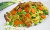 Gebratene Curry-Nudeln mit Pute