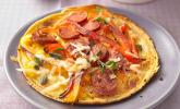 Herzhafte Pfannkuchen mit Salami oder Chorizo, Parmesan und Paprika