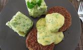 Panierte Kohlrabischnitzel an Kartoffel-Kohlrabiblätter-Püree