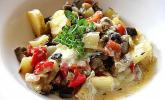 Paprika-Auberginen-Gemüse mit Gorgonzola