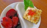 Frittierte Ravioli mit Kirschtomaten aus dem Rotweinsud