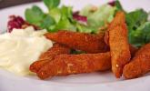 Panierte Schwarzwurzeln mit Hollandaise-Espuma und Salat