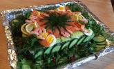 Schwedentorte mit Lachs und Shrimps