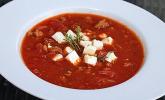 Tomaten-Hackfleischsuppe mit Feta