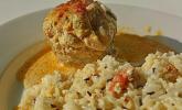 Gefüllte Champignons mit Schafskäse-Hackfleisch an Käsesauce