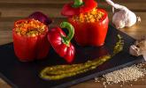 Geschmorte Paprika mit Quinoa und Pilzen