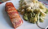 Platz 13: Lachs von Bacon umrollt, mit pikanter Gemüsepfanne und Feta-Käse