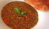 Linsensuppe mit Minze und Mango - Chutney