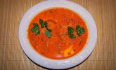 Paprika-Reis-Suppe mit geräuchertem Lachs