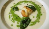 Petersilienwurzel - Suppe mit Spinatschaum, Jakobsmuscheln und frittiertem Spinat