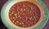Scharfe Tomaten-Erbsensuppe