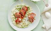 Hauptspeise: Bacon-Lamm mit Bärlauchrisotto