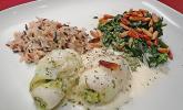 Fisch-Bärlauch-Röllchen mit Sahne-Weißwein Sauce