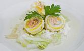 Roulade von Seezunge und Lachs auf gebratenem Chinakohl in Limonensauce