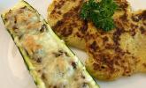 Zucchini-Hackfleisch-Schiffchen mit Kartoffel-Zucchini-Püfferchen und Bechamelsauce