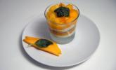 Nachspeise: Quark-Dessert auf Pasta de Manga mit Pestosauce