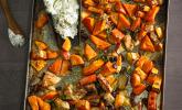 Kürbis, Süßkartoffeln, Äpfel und Hähnchen vom Blech