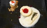 Nachspeise: Cheesecake Muffins mit Keksboden, Honig-Rosmarin-Parfait und Äppelkaka