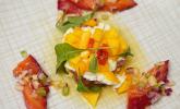Vorspeise: Graved Rote Bete-Lachs und Avocado-Mozzarella-Salat mit Mango und Thunfisch-Tatar